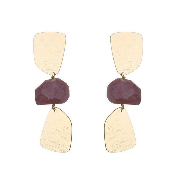MARIA SEMI PRECIOUS NATURAL STONE EARRINGS - RUBY RED
