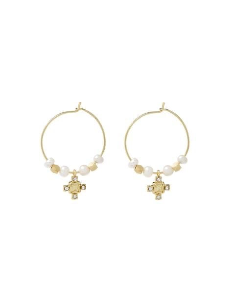 PUNK PEARL STUD HOOPS - GOLD