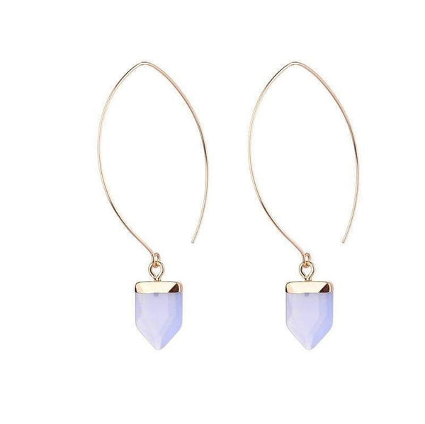AMY NATURAL STONE EARRINGS - AMETHYST