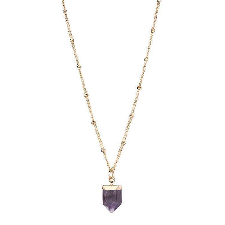 AMY NATURAL STONE NECKLACE - AMETHYST
