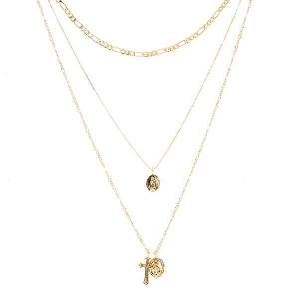 ISIDORE CROSS CHARM NECKLACE - GOLD