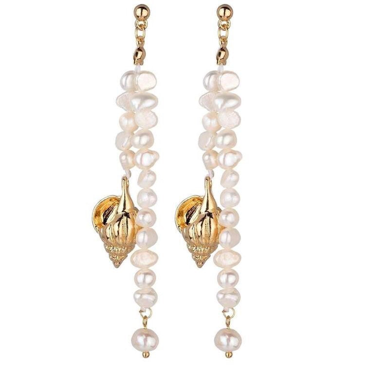 MEGAN FRESH WATER PEARLS AND GOLD SHELL EARRINGS