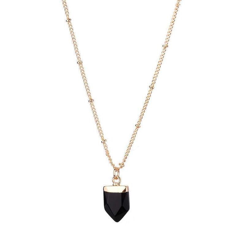 AMY NATURAL STONE NECKLACE - ONYX