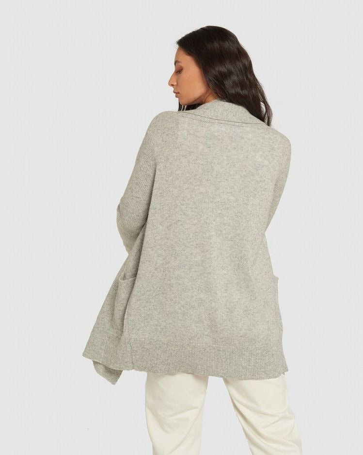 PADDINGTON CARDIGAN - LIGHT GREY MARLE