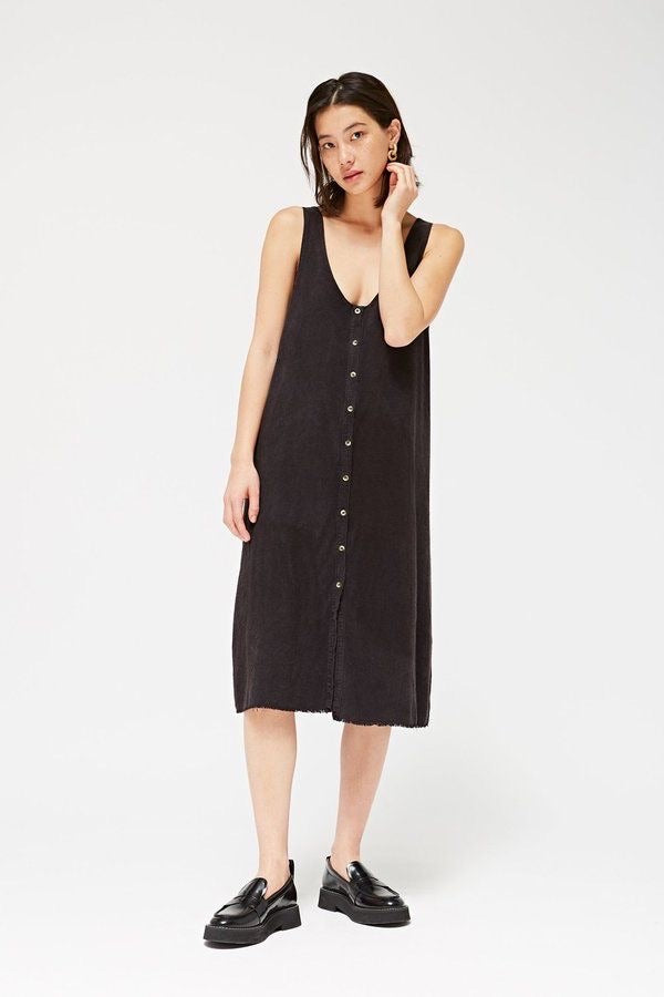 REVERSIBLE RAW SILK DRESS - TAR