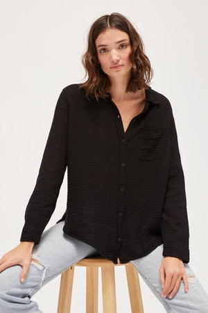 Load image into Gallery viewer, LUXE GAUZE NASH BUTTON UP - TAR