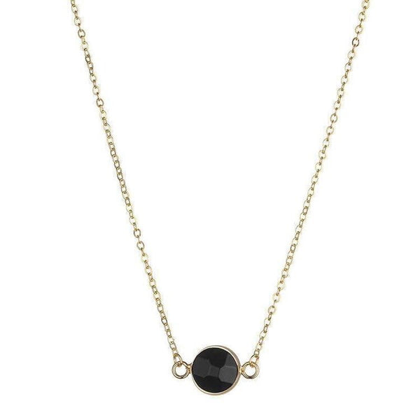 SALLY NATURAL STONE NECKLACE - BLACK