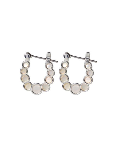 MINI MOTHER PEARL INLAY HOOPS - SILVER