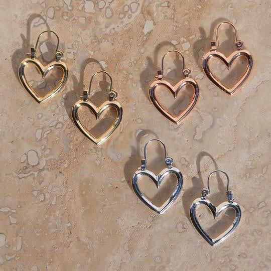 MINI HEART BREAKER HOOPS - SILVER