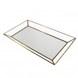 ANTIQUE BRASS GLASS TRAY