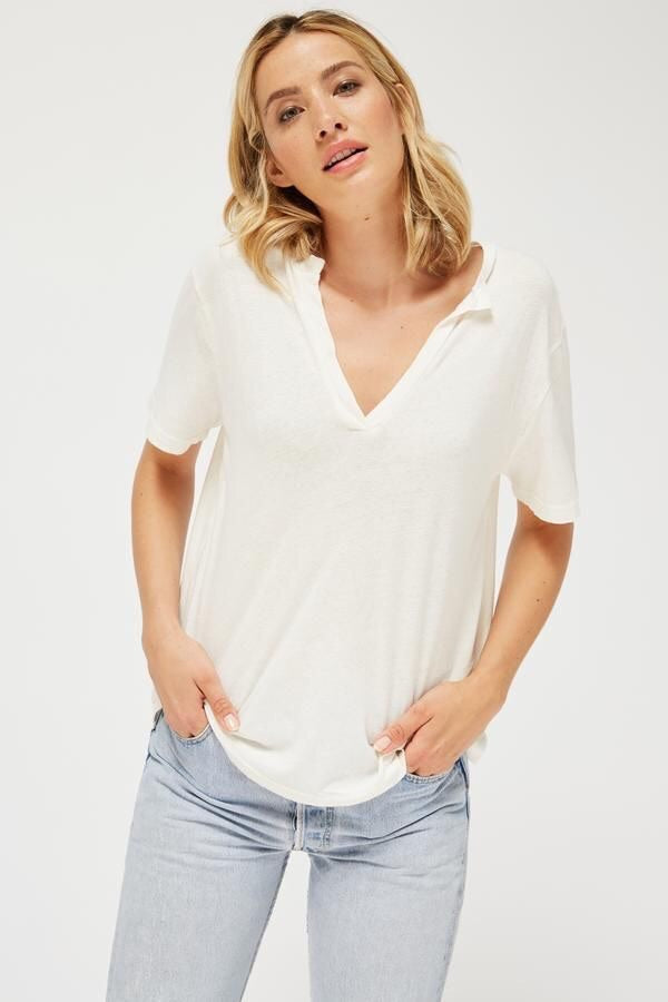 Load image into Gallery viewer, RELAXED V TEE - WHITEWASH, PANNACOTTA & NAVY