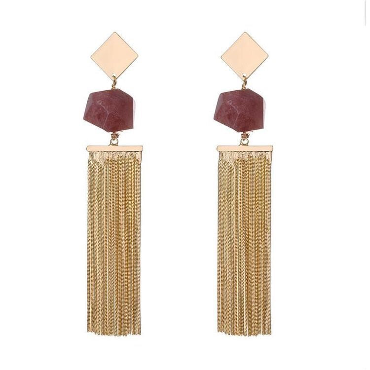 Load image into Gallery viewer, ANNA SEMI PRECIOUS NATURAL STONE TASSEL EARRINGS - 3 COLOURS