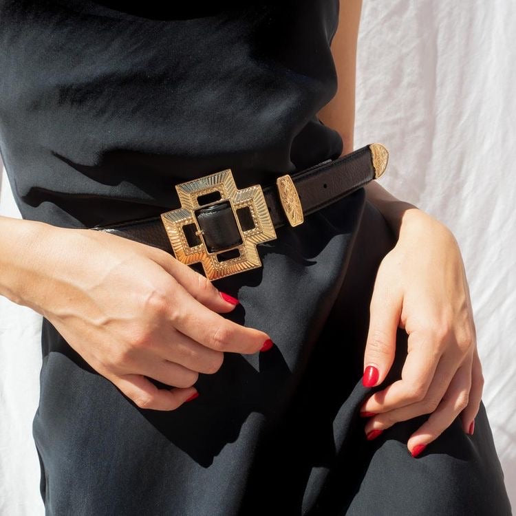 THE CROSS BUCKLE BELT - GOLD