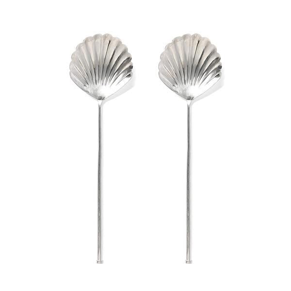 Load image into Gallery viewer, SHELL SALAD SERVERS - SILVER