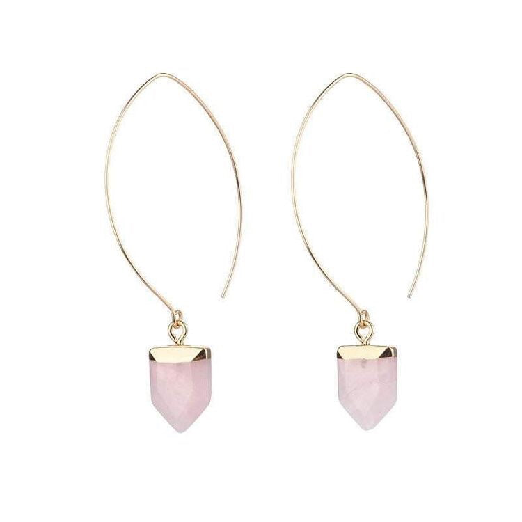 AMY NATURAL STONE EARRINGS - ROSE QUARTZ