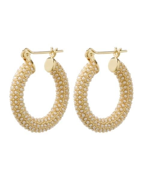 PAVE PEARL BABY AMALFI HOOPS - GOLD