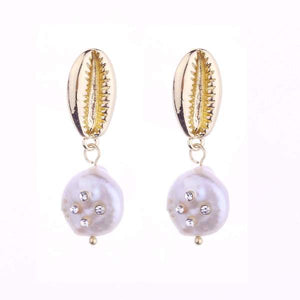Load image into Gallery viewer, KIM FRESHWATER SHELL PEARL EARRINGS