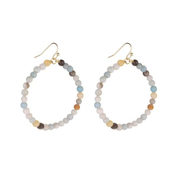 Load image into Gallery viewer, SHANNY MEDIUM HOOP NATURAL STONE EARRINGS