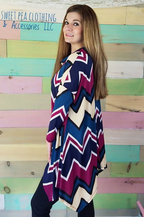 Chevron Cowl Neck Tunic