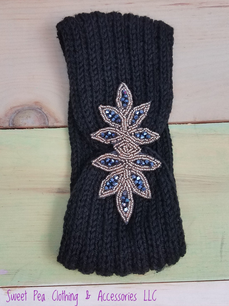 Black Crystal Beaded Headband