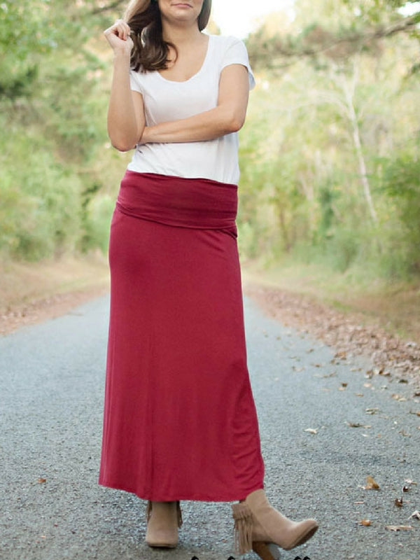 Burgundy Maxi Skirt Womens Boutique Style Clothing.
