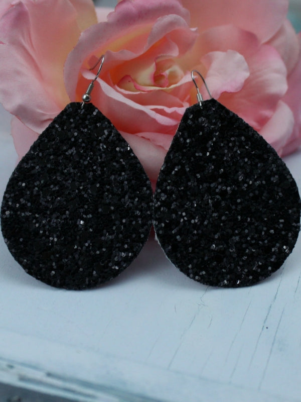 Black Glitter Earrings