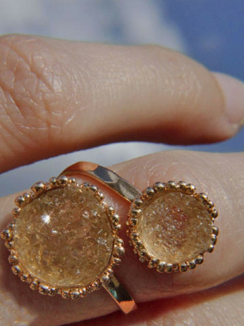Champange Druzy Adjustable Ring