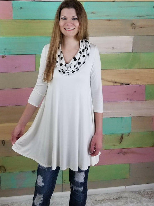 White Cowl Neck Tunic