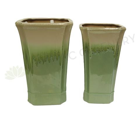 Paint Dipped Style Square - Green / Beige (Ceramic) (Code: CER003)