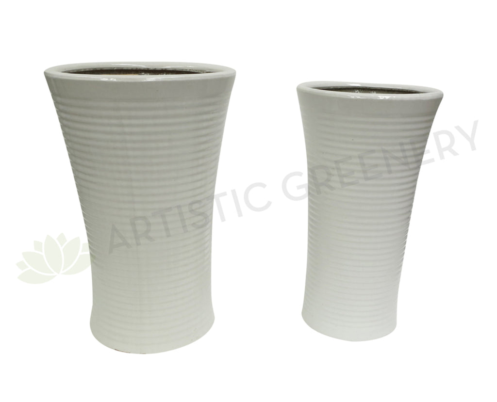 Glazed Round Ceramic Pot - White (Code: CER0005)