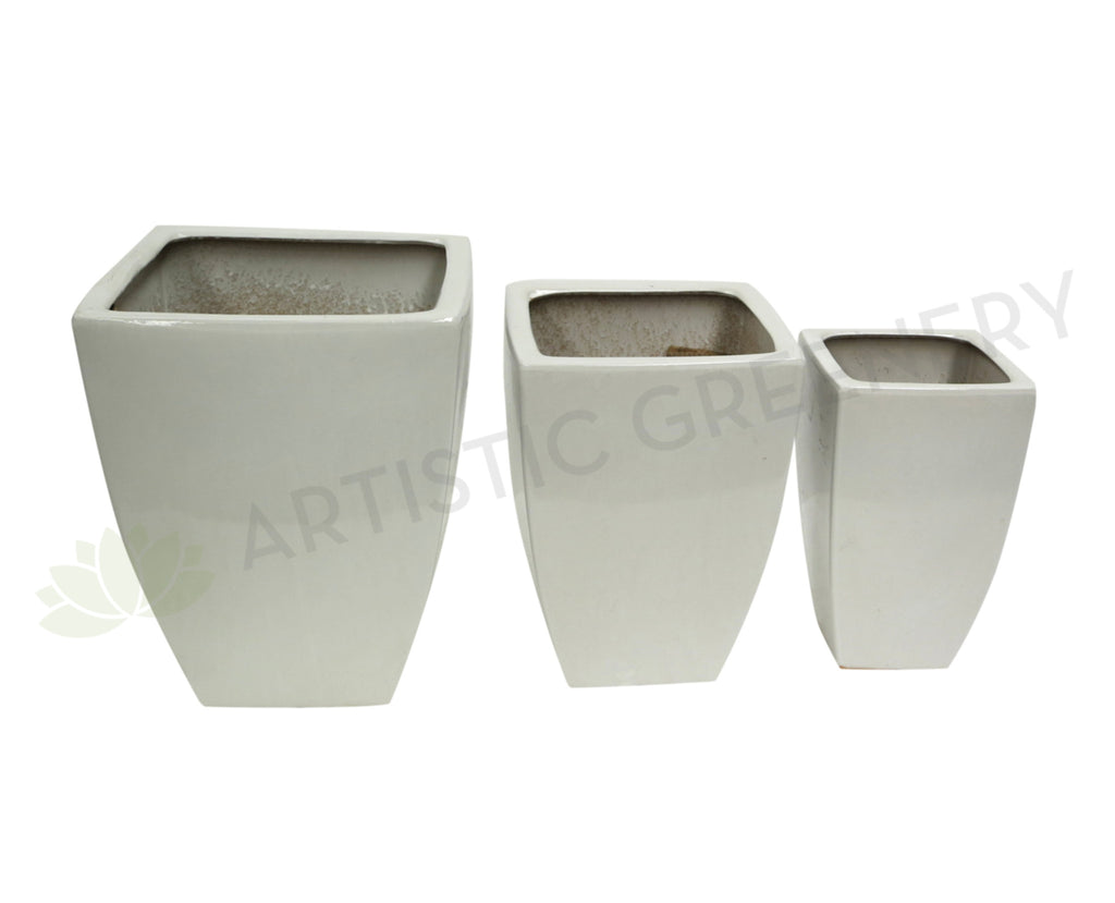 White Tapered Pot (Ceramic) 3 Sizes (Code: CER006)