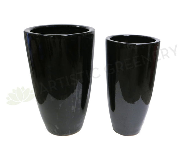 Glazed Ceramic Pot - Black  (Tall) (Code: CER001)