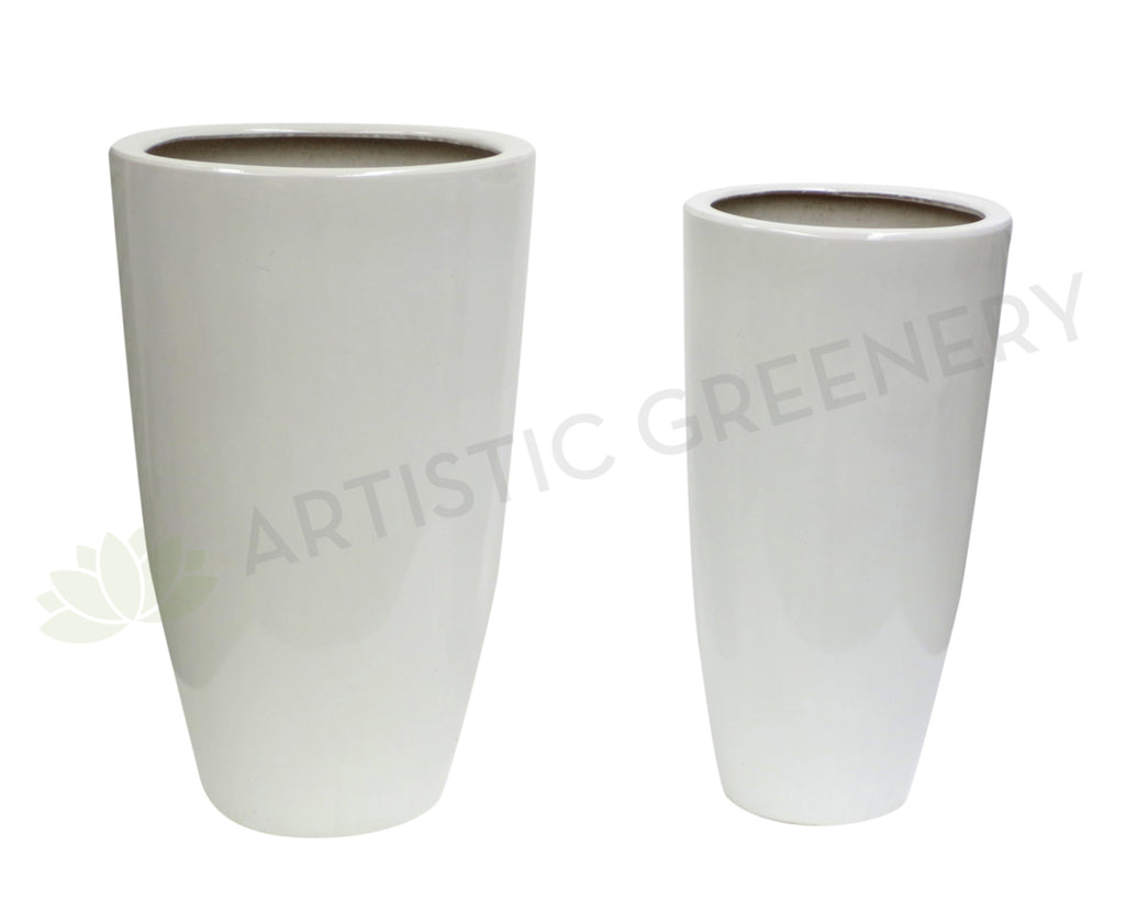 Glazed Ceramic Pot - White  (Tall) (Code: CER001)