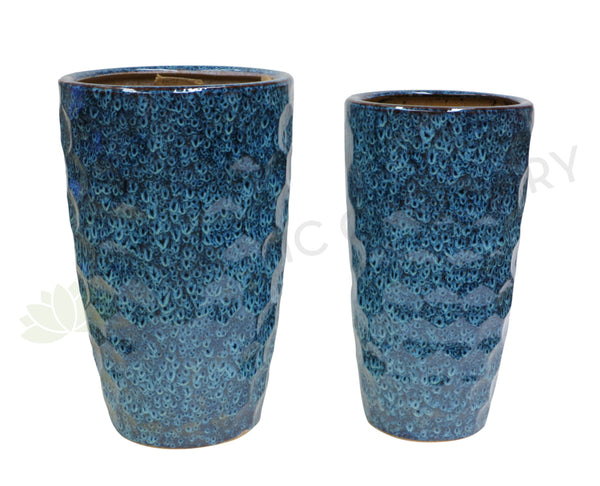 Peacock Pattern Round - Blue (Ceramic) (Code: CER008)