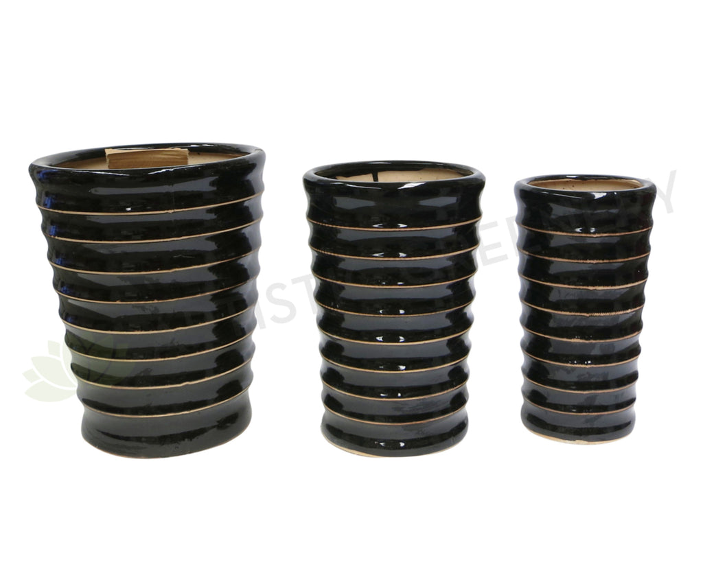 Black With Gold Ribbed Trim - Round (Ceramic) (Code:CER011)