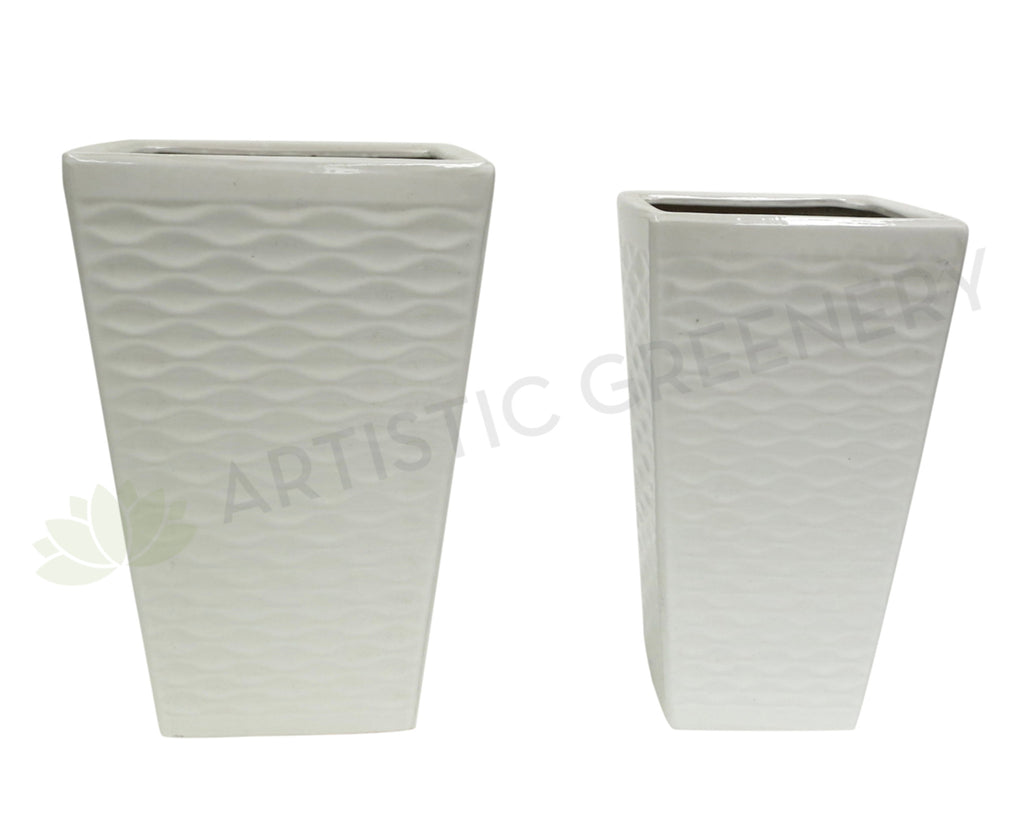 Glazed Tapered Ceramic Pot Ripple Pattern- White (Code: CER012)