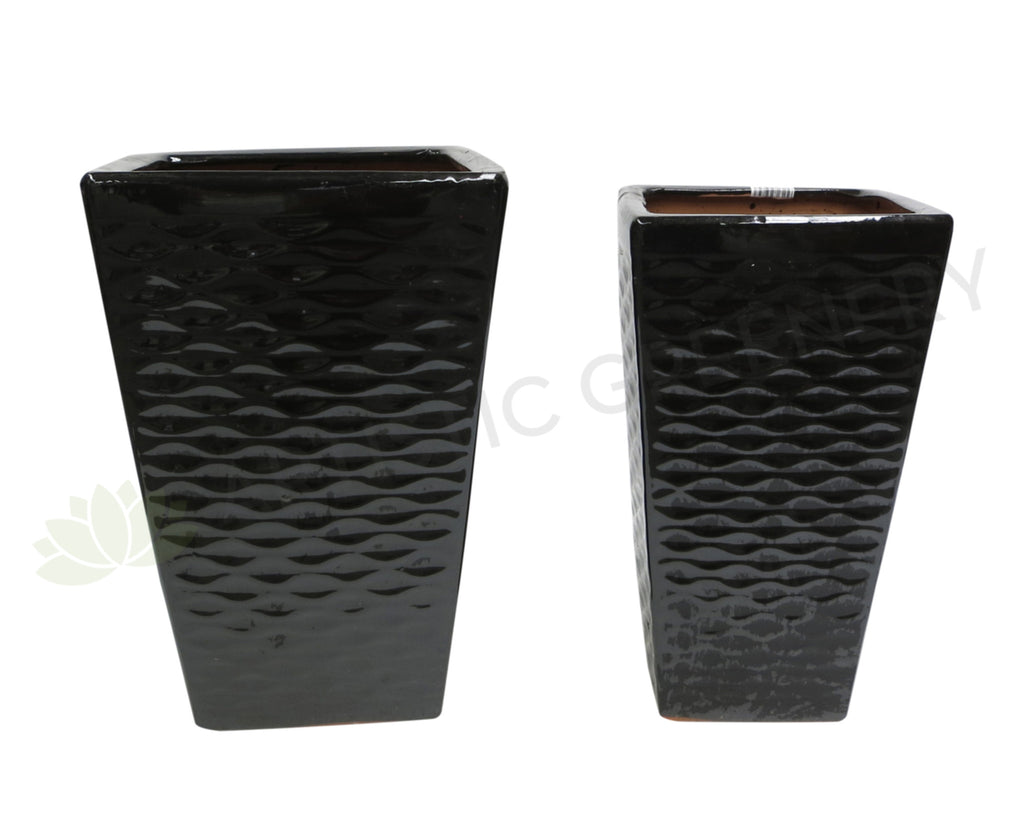 Glazed Tapered Ceramic Pot Ripple Pattern- Black (Code: CER012)