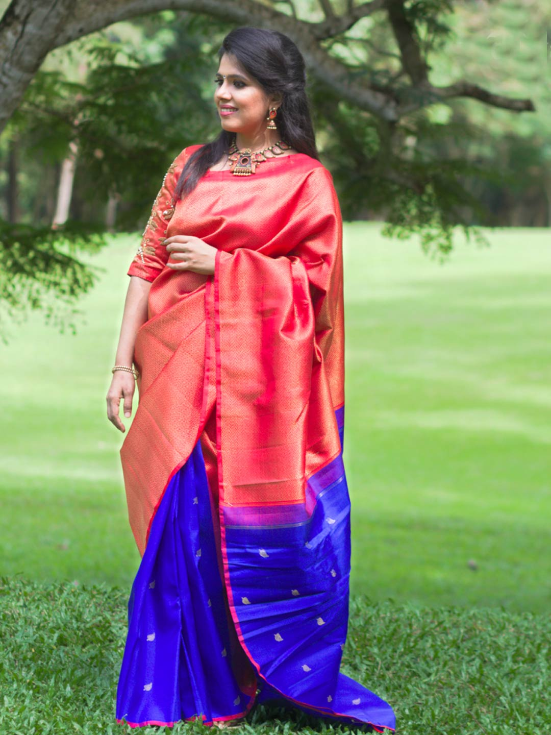 Heirloom Kanjeevaram Silk Two Color Concept Saree