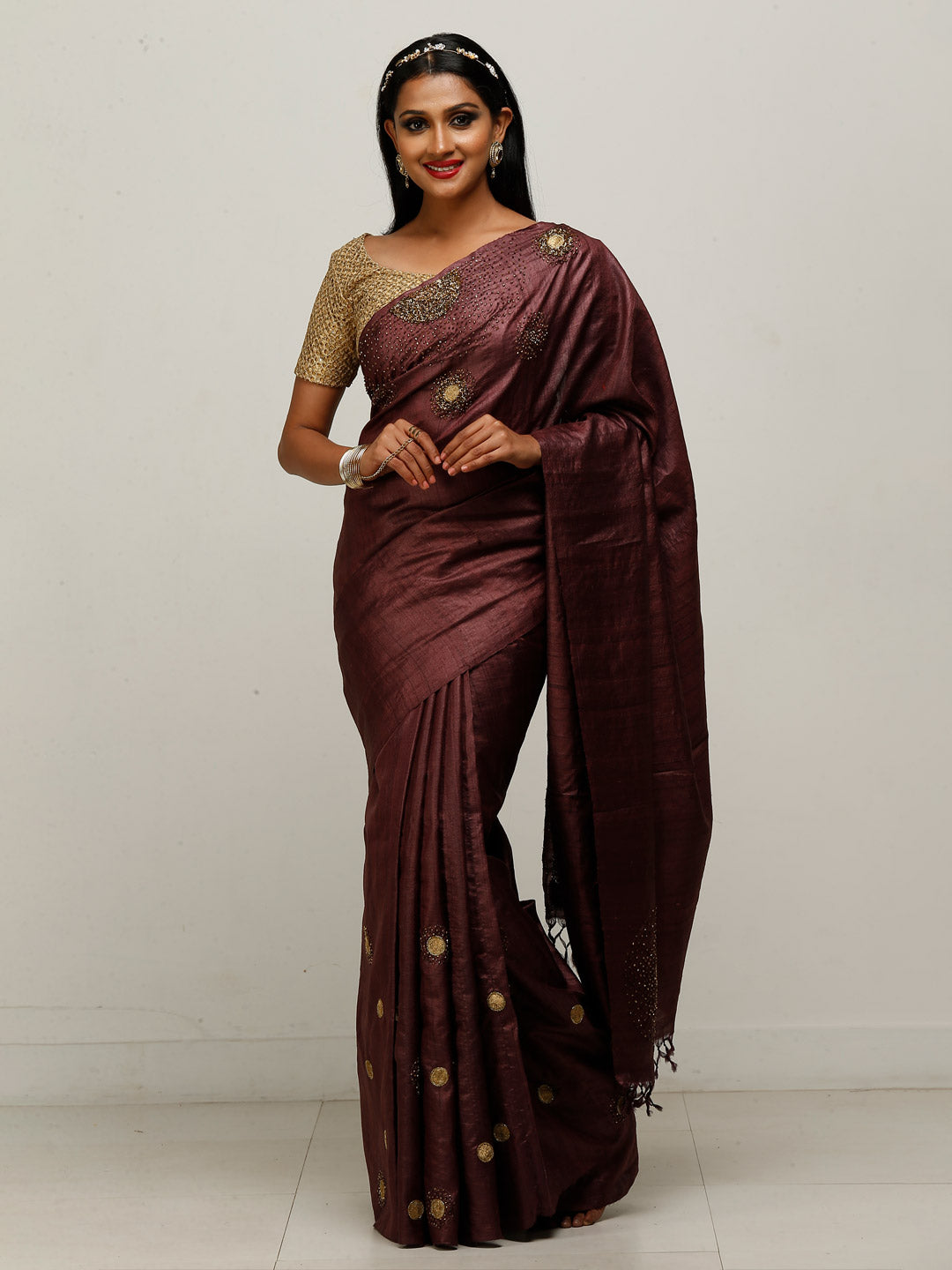 Dark Brown Tussar Saree