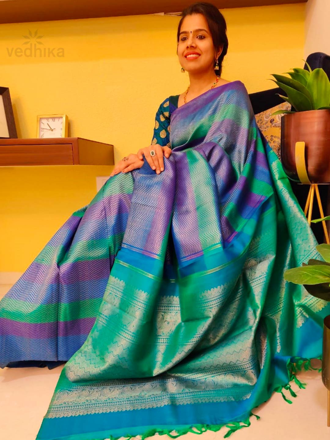Heirloom Kanchipuram Silk Saree With Brocade Effect