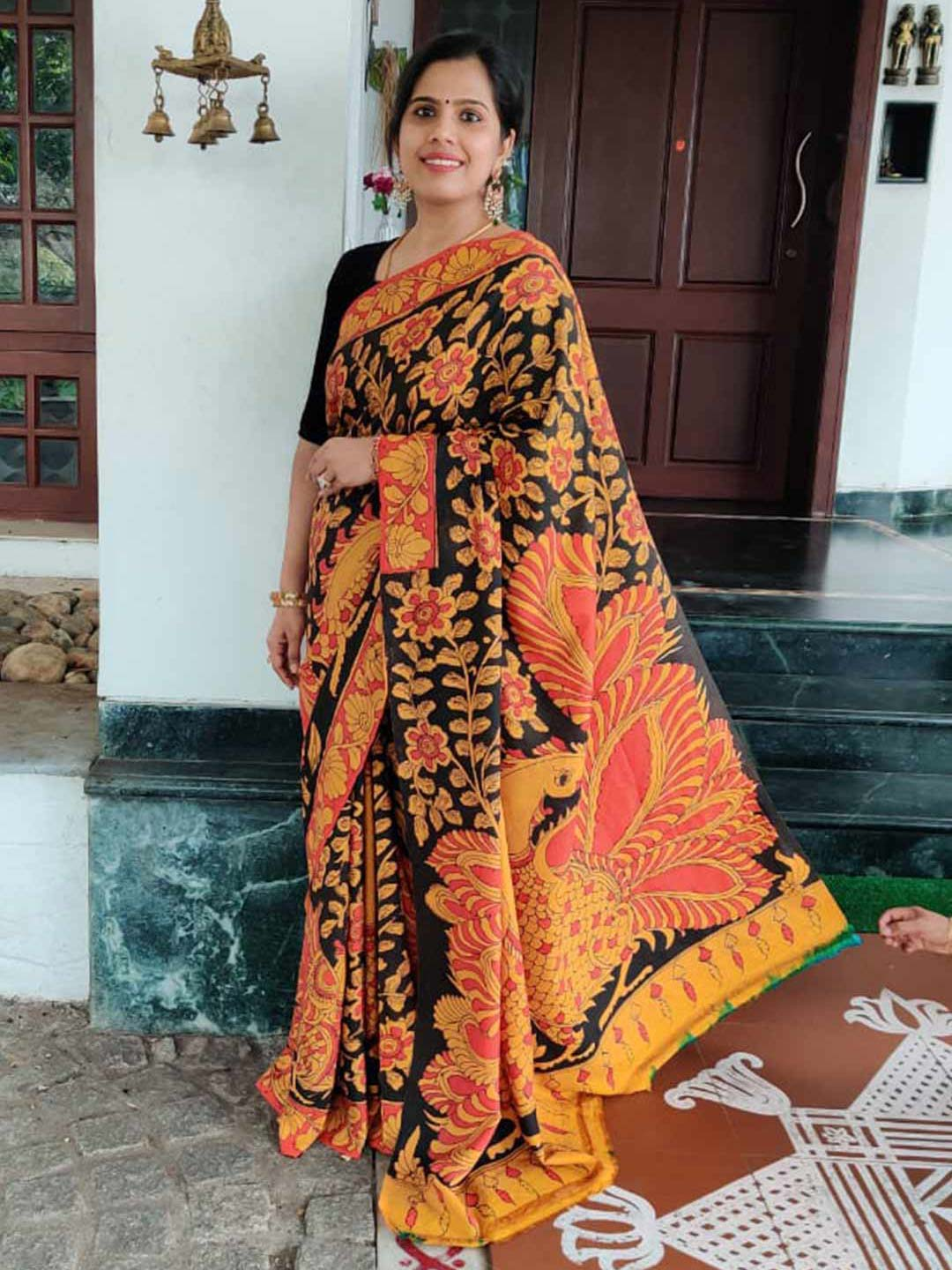Kanjivaram Silk Saree With Hand Painted Kalamkari Work and Grand Peacock Design Pallu