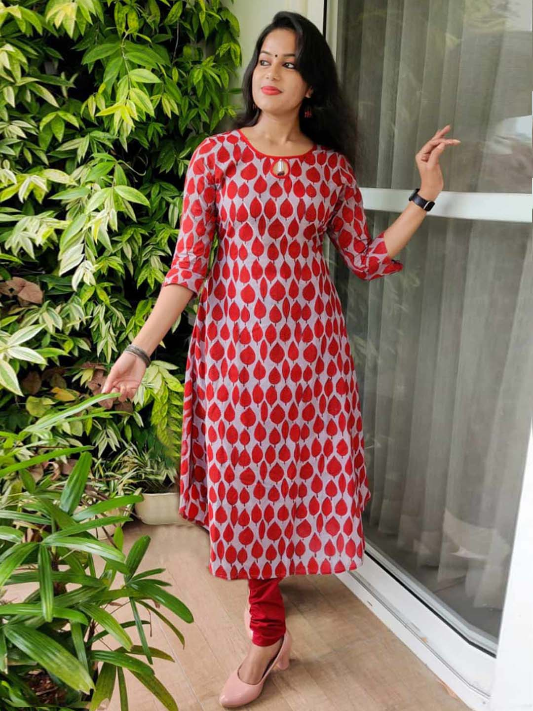 Grey Kurti with red block prints