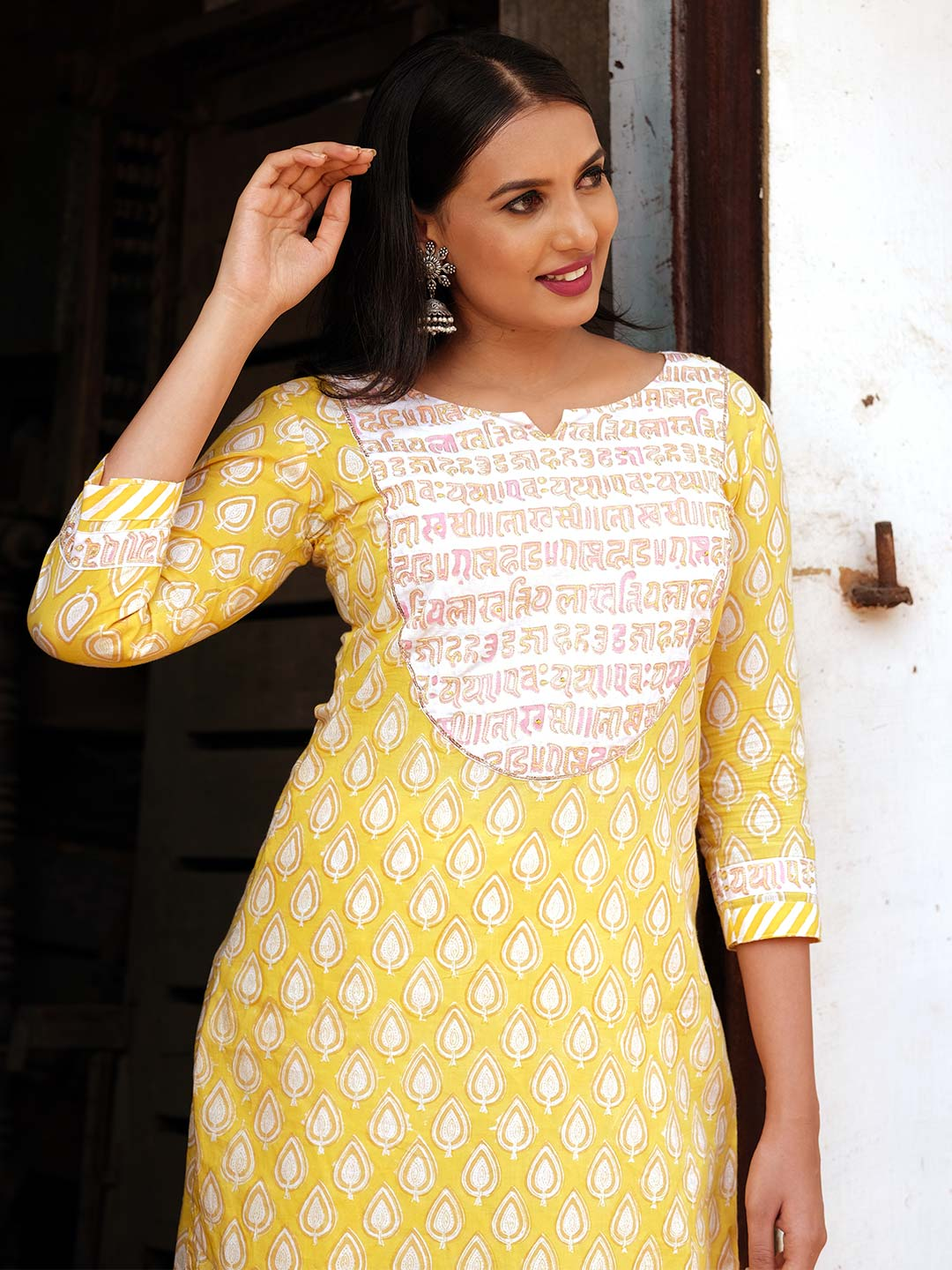Yellow Block Printed Kurti