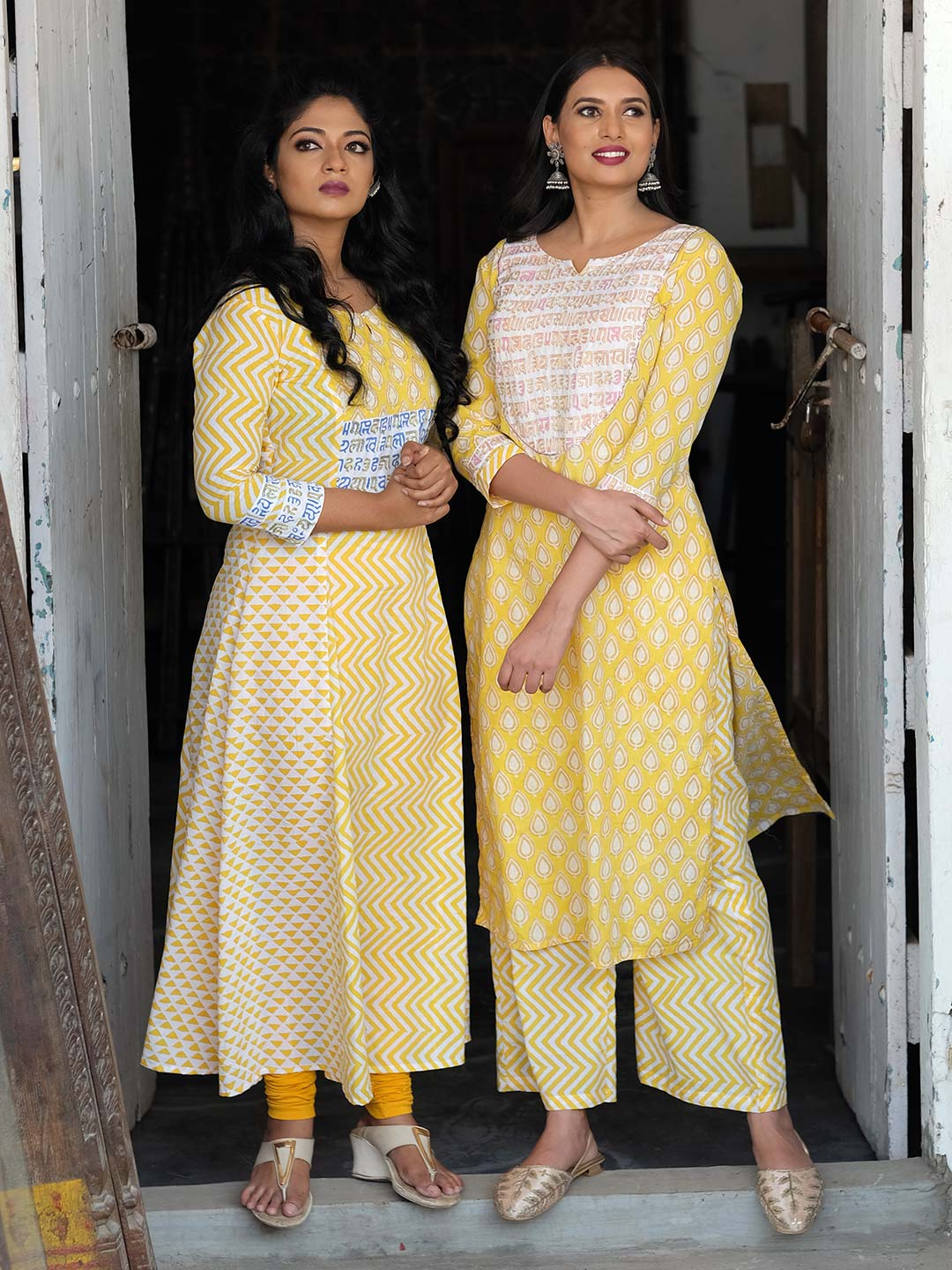 Combo of Yellow Block Printed Kurtis
