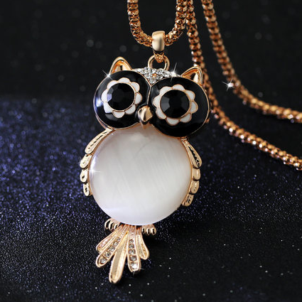 Charm Crystal Owl + 18k Gold Long Chain