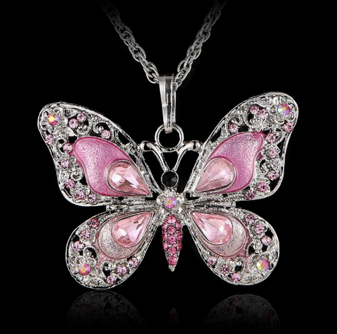 Beautiful Rhinestone Butterfly Necklace