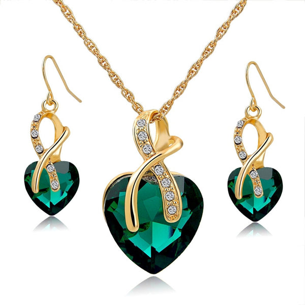 Gold Plated Jewelry Sets - Crystal Heart Necklace & Earrings FREE