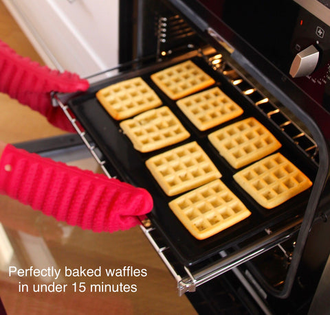 Home Baked Waffles Made Easy. Silicone Waffle Tray TWIN Pack + FREE Recipe-WellBake