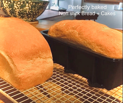 Our Most Popular Bread and Cake Dish. 1lb Silicone Loaf Dish with side supports bakes beautifully.