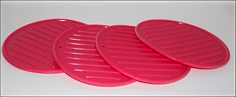 4pce Silicone Trivet/Heat Mat - Pink.